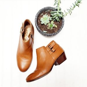 Sam Edelman Petal Brown Leather Buckle Ankle Boots